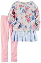 Carter's Girls 4-8 Mixed Fabric Top & Solid Leggings Set
