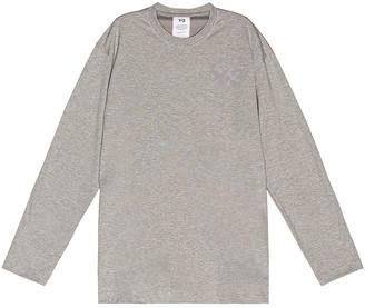 Yohji Yamamoto Chest Logo Long Sleeve Tee in Medium Grey Heather   FWRD