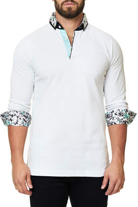 Maceoo Men's Abstract Printed Long-Sleeve Polo Shirt