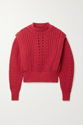 Isabel Marant Prune Ribbed Pointelle-knit Sweater - Crimson