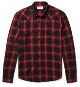 Saint Laurent - Slim-fit Checked Cotton-blend Flannel Western Shirt