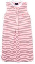 Ralph Lauren Sleeveless Striped Henley Shirtdress, Red/White, Size 5-6X
