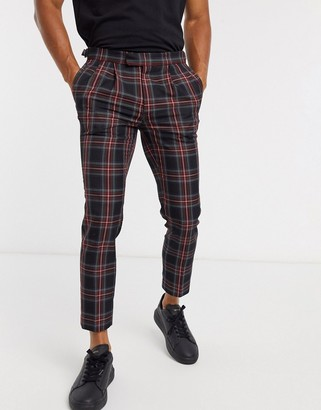 Burton Menswear skinny smart trousers in red & navy check