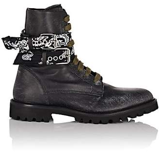 Amiri Men's Bandana-Strap Leather Combat Boots - Black