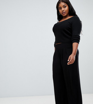 Asos DESIGN Curve wide leg trousers with deep waistband-Black