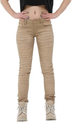 R.Display Ripped Distressed Slim Fit Skinny Stretch Jeans with Diamante Detail - Brown (12)