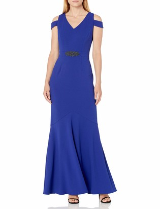 Alex Evenings Women's Long Cold Shoulder Dress