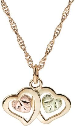 Black Hills Gold Double Heart Pendant, 10K/12K Gold