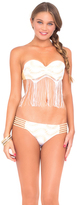 Luli Fama Buena Onda Fringe Underwire Push-Up Bandeau in White (L46285F)