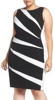 Adrianna Papell Colorblock Sheath Dress (Plus Size)