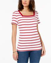 Karen Scott Cotton Square-Neck T-Shirt, Created for Macy's