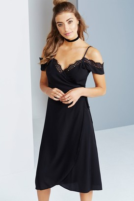 Little Mistress Girls on Film Black Off The Shoulder Lace Dress