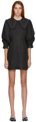 Ganni Grey Linen Oversized Collar Dress