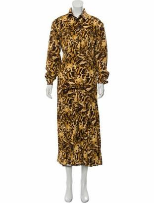 Victoria Beckham Animal Print Midi Dress w/ Tags tan