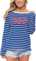 Macbeth Blue & White Stripe 'Parlez Vous Beach' Long-Sleeve Tee