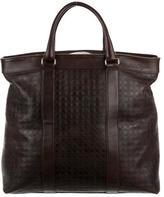 Salvatore Ferragamo Logo Embossed Leather Weekender