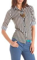 Charlotte Russe Striped Hi-Low Button-Down Top