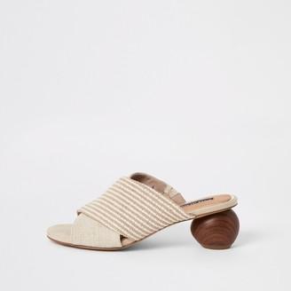 River Island Womens Beige cross over wooden heel sandals