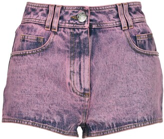 Balmain B-Embroidered Denim Shorts