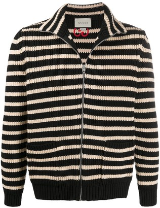 Gucci Striped Zipped Cardigan