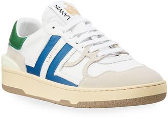 Lanvin Men's Clay Mesh & Leather Low-Top Tennis Sneakers