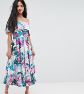 Asos Off The Shoulder Midi Prom Dress In Bright Purple Floral
