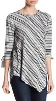 Vince Camuto Long Sleeve Tie Cuff Stripe Asymmetrical Blouse