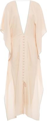 Roland Mouret Draped Lace-up Wool-crepe Midi Dress