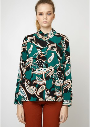 Floral Print Straight Blouse with Long Sleeves