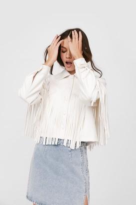 Nasty Gal Womens Western Back Time Faux Leather Fringe Jacket - White