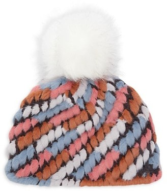 Jocelyn Faux Fur Pom Pineapple Knit Hat