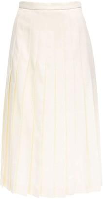 Alessandra Rich Pleated Light Wool Midi Skirt