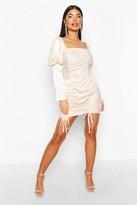 boohoo Petite Hammered Satin Volume Sleeve Mini Dress