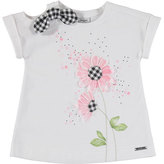 Mayoral Short-Sleeve Floral Tee w/ Gingham Leggings, Black/White, Size 3-7