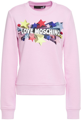 Love Moschino Glittered Printed French Terry Sweatshirt