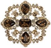 Givenchy Silver-Tone Dark Crystal Cluster Pin