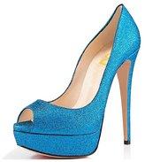 FSJ Sexy Peep Toe Platform Pumps Stilettos High Heels for Women Prom Shoes Matte Size 13