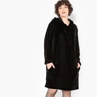 Castaluna Plus Size Straight Knee Length Hooded Velvet Dress