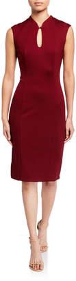 Neiman Marcus Keyhole-Front Cap-Sleeve Sheath Dress