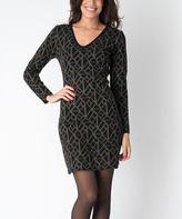 Yuka Paris Black & Khaki Geometric Kim K Dress