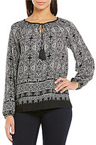 Jones New York Artisan Paisley Tassel Tie-Neck Peasant Top