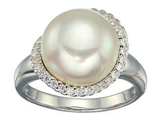 Majorica Rosa 12MM Flat Pearl with Cz Ring On Sterling Silver Size 7