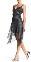 Rachel Roy Pleated Metallic Sharkbite Dress
