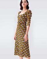 Thumbnail for your product : Diane von Furstenberg Abra Mesh Midi Dress in Arrow Head