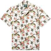 Gitman Brothers Camp-collar Printed Slub Cotton Shirt