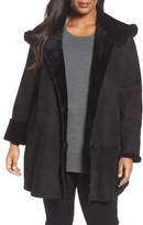 Blue Duck Plus Size Women's Hooded Genuine Shearling Swing Coat With Genuine Fox Fur Trim