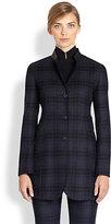 Akris Leather-Trimmed Plaid Flannel Wool Blazer