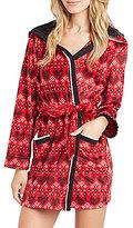 Kensie Holiday Heart-Print Microfleece Hooded Wrap Robe
