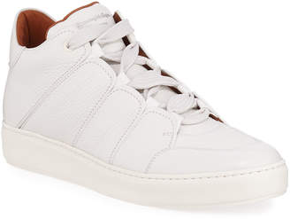 Ermenegildo Zegna Men's Tiziano Grained Leather High-Top Sneakers