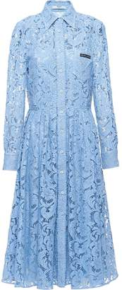 Prada Logo Patch Lace Midi Dress